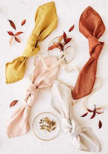serviettes-lin-jaune, terracotta, rose, beige